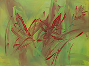 July Paintings - Moon of Red Blooming Lilies  July by Ethel Vrana