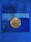 Striking Metal Prints - Moon on Blue Metal Print by Carol Leigh
