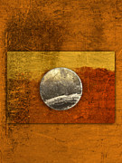 Striking Metal Prints - Moon on Gold Metal Print by Carol Leigh