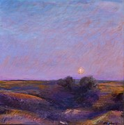 Prairie Sky Paintings - Moon on the Horizon by Helen Campbell