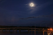 Annapolis Md Prints - Moon over Annapolis  Print by JC Findley