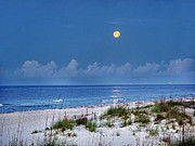 Fishing Digital Art Originals - Moon Over Beach by Michael Thomas