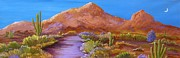Scottsdale Paintings - Moon Over Camelback by Carol Sabo