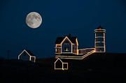 Cape Neddick Light Station Prints - Moon Over Cape Neddick Print by Guy Whiteley