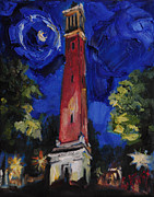 National Painting Posters - Moon Over Denny Chimes Poster by Carole Foret
