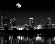 Metroplex Posters - Moon over Downtown Fort Worth Poster by Sarah Fields