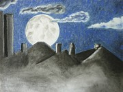 Skylines Pastels Prints - Moon Over Frankfurt Print by Ladonna Everett
