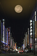 Vancouver Digital Art Prints - Moon Over Granville Street Print by Ben and Raisa Gertsberg