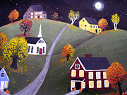 Pumpkins Paintings - Moon Over Harvest Village by Amy Scholten