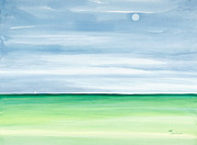 Horizon Paintings - Moon Over Islamorada by Michelle Wiarda
