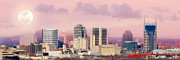 Panoramic Framed Prints - Moon Over Nashville Framed Print by Amy Tyler