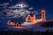 Christmas Lights Framed Prints - Moon over Nubble Framed Print by Michael Blanchette