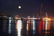 Night Scenes Framed Prints - Moon Over Portsmouth Harbor 2 Framed Print by Joann Vitali