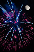 Moon Over Red White And Blue Starburst- July Fourth - Fireworks Print by Penny Lisowski
