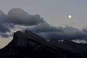 Rundle Prints - Moon over Rundle Mountain Print by Steve Sturgill