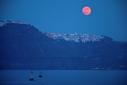 Santorini Photos - Moon Over Santorini by Brian Jannsen