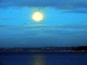 Keith Rautio Acrylic Prints - Moon Over Seattle Acrylic Print by Keith Rautio