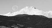 James BO  Insogna - Moon Over Snow Covered Twin Peaks BW Panorama