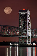 Nautical Art - Moon over steel - Gil Hodges Memorial Bridge by Gary Heller