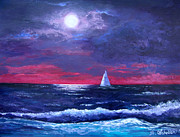 Sailboat Ocean Painting Originals - Moon Over Sunset Harbor by Amy Scholten