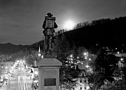 Western Carolina University Framed Prints - Moon Over Sylva 2004 Framed Print by Matthew Turlington