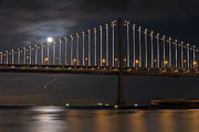Kate Brown Metal Prints - Moon over the Bay Bridge Metal Print by Kate Brown