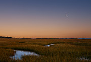 New England Morning Prints - Moon over the Cape Print by Bill  Wakeley