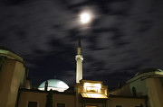 Sarajevo Posters - Moon over the Mosque in Sarajevo Poster by Mountain Dreams