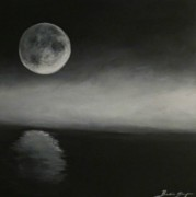 Sea Moon Full Moon Paintings - Moon over the Shores by Barbie Baughman