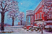 Library Paintings - Moon Over the Waltham Library by Rita Brown