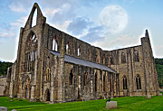 Cistercians Posters - Moon Over Tintern Abbey Poster by Skye Ryan-Evans