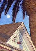 Locations Painting Prints - Moon Over Top Gun House Print by Gloria Johnson