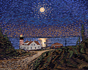 Maine Lighthouses Digital Art Prints - Moon Over West Quoddy Light Print by Alison Barrett Kent