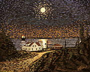 Maine Lighthouses Digital Art Prints - Moon Over West Quoddy Light warm tone Print by Alison Barrett Kent