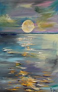 Planetoid Painting Framed Prints - MOON over YOUR town/REFLEXION Framed Print by PainterArtist FIN