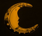 Icon Mixed Media Posters - MOON PHASE in ORANGE Poster by Rob Hans