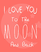 Typographic Prints - Moon Red Print by Patrycja Polechonska