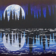 Walden Pond Painting Prints - Moon Reflection Over Walden Pond Print by Tracy Levesque