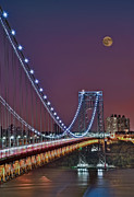 George Washington Photo Posters - Moon Rise over the George Washington Bridge Poster by Susan Candelario