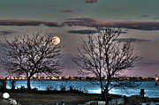 Moonlit Night Prints - Moon Rise Over the Islands Print by Kristine Patti