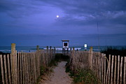 Sea Moon Full Moon Prints - Moon Rise Over Wrightsville Beach Print by Amy Lucid