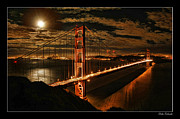 Blake Richards Framed Prints - Moon Rise San Francisco Golden Gate Bridge Framed Print by Blake Richards