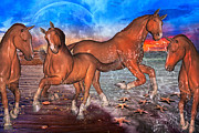 Ponies Digital Art - Moon Rise Splendor by Betsy A Cutler East Coast Barrier Islands