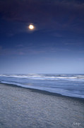 Ocean Images Posters - Moon Rising Over Hilton Head Poster by Phill  Doherty