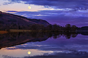 Scotland Landscape Prints Prints - Moon rising over Loch Ard Print by John Farnan