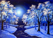 Serenity Scenes Paintings - Moon  River . by Shasta Eone