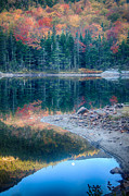 Pond Greeting Cards Digital Art - Moon Setting Fall Foliage Reflection by Jeff Folger