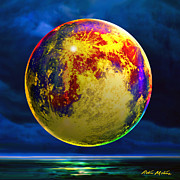 Moonscape Digital Art Prints - Moon Shadowed Print by Robin Moline