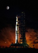 Rocket Digital Art - Moon Shot by Peter Chilelli