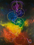 Chakra Rainbow Painting Originals - Moon Silvered Visions of Gold by Colleen Koziara